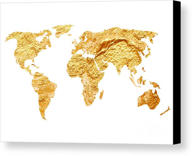 Gold world map watercolor painting canvas print canvas art by map canvas print featuring the painting gold world map watercolor painting by joanna szmerdt gumiabroncs Gallery