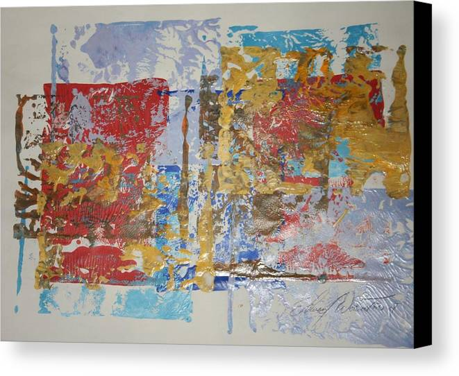 Abstract Canvas Print featuring the painting Golden Sun In Morning Light Of Red by Edward Wolverton