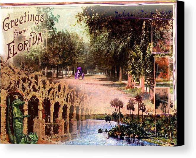 Collage Canvas Print featuring the photograph Greetings From Florida by Deborah Hildinger