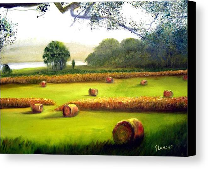 Landscape Canvas Print featuring the painting Hay Bales by Julie Lamons