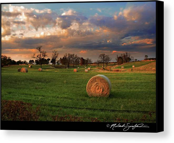 Landscape Canvas Print featuring the photograph Haybales At Dusk by Melinda Swinford