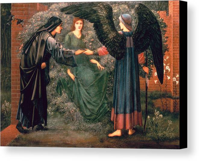 Heart Canvas Print featuring the painting Heart Of The Rose by Sir Edward Burne-Jones