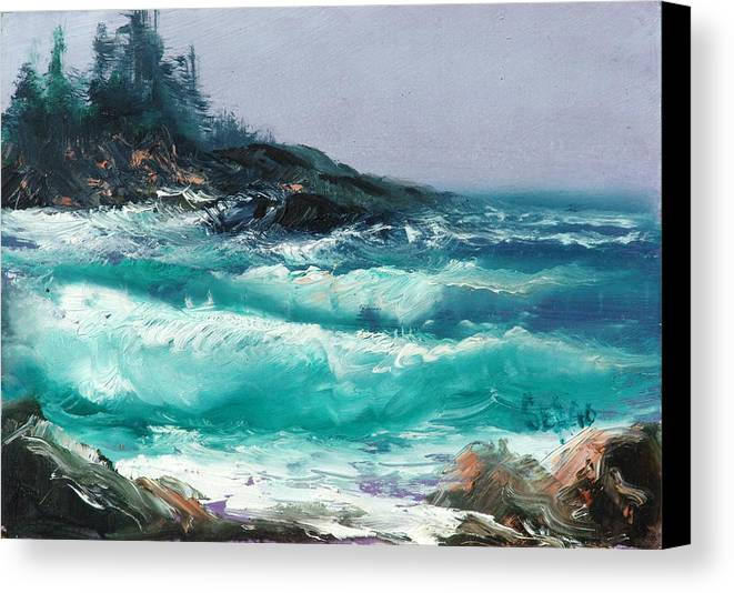 Sea Canvas Print featuring the painting High Surf by Sally Seago