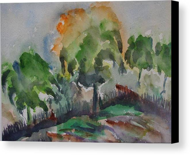 Green Nature Canvas Print featuring the painting Hilly Slope by Rima