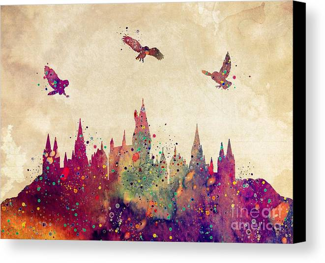 Hogwarts Castle Watercolor Art Print Canvas Print Canvas