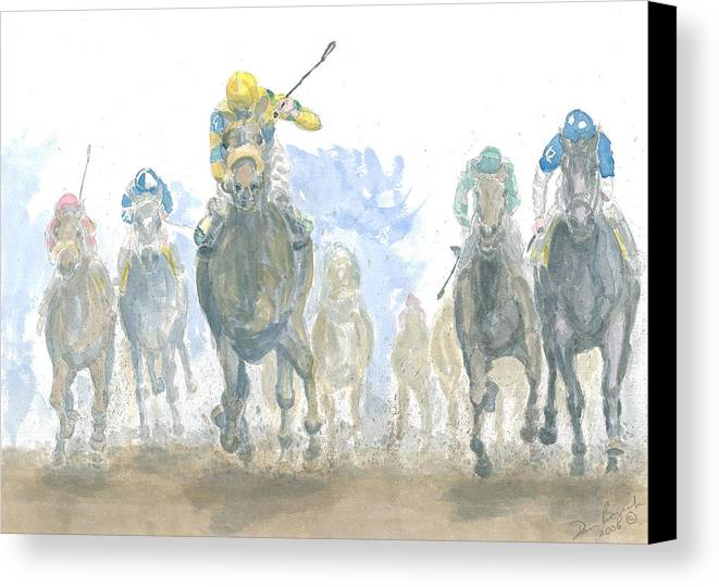 Horse Race Canvas Print featuring the painting Homestretch by Dan Bozich