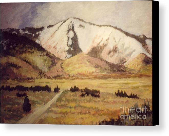 Landscape Canvas Print featuring the painting Horse Head Mountain by JoAnne Corpany