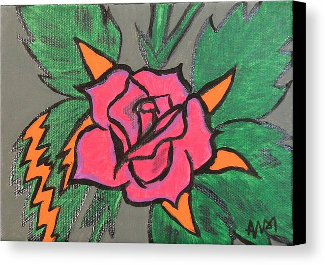 Rose Canvas Print featuring the painting Impact by Andi Kozak