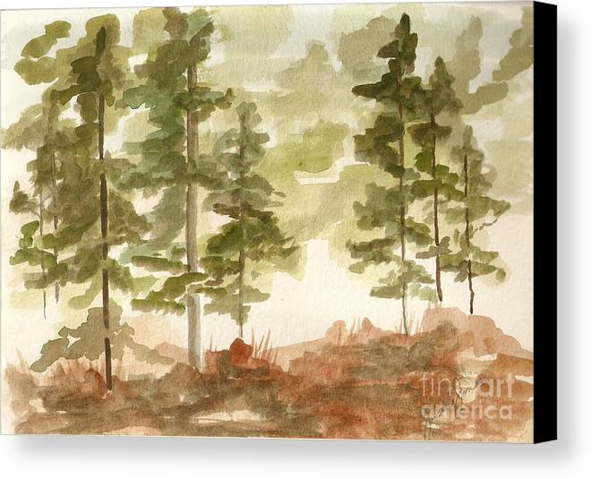 Trees Canvas Print featuring the painting In The Trees by Jackie Mueller-Jones