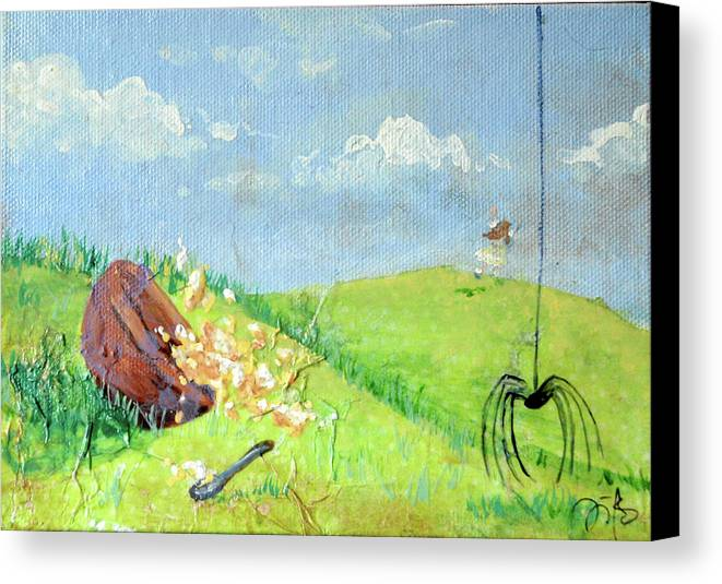 Itsy Bitsy Spider Canvas Print featuring the mixed media Itsy Bitsy Spider by Jennifer Kelly