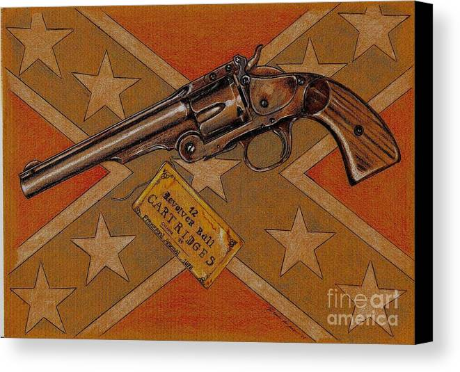 Jesse James Revolver Canvas Print featuring the drawing Jesse James by Ricardo Reis
