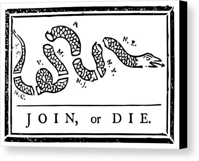 Join Or Die Canvas Print featuring the mixed media Join Or Die by War Is Hell Store