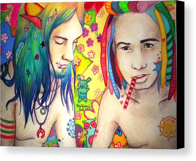 Colours Canvas Print featuring the drawing Kamil And Louis by Freja Friborg
