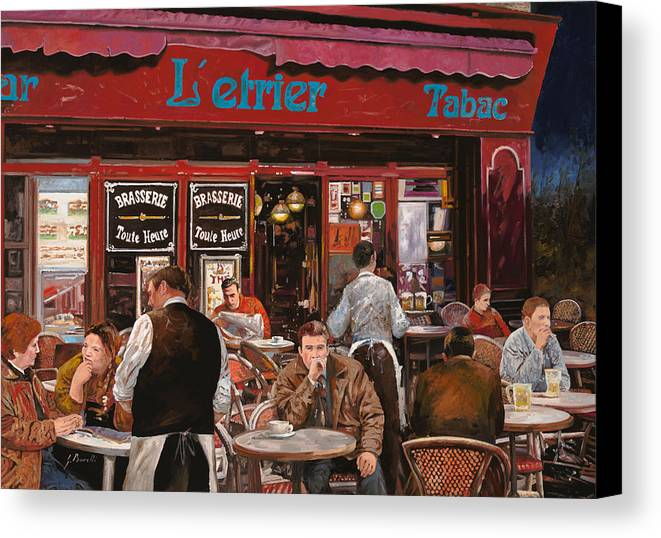 Brasserie Canvas Print featuring the painting Le Mani In Bocca by Guido Borelli
