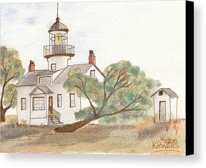 Lighthouse Canvas Print featuring the painting Lighthouse Sketch by Ken Powers