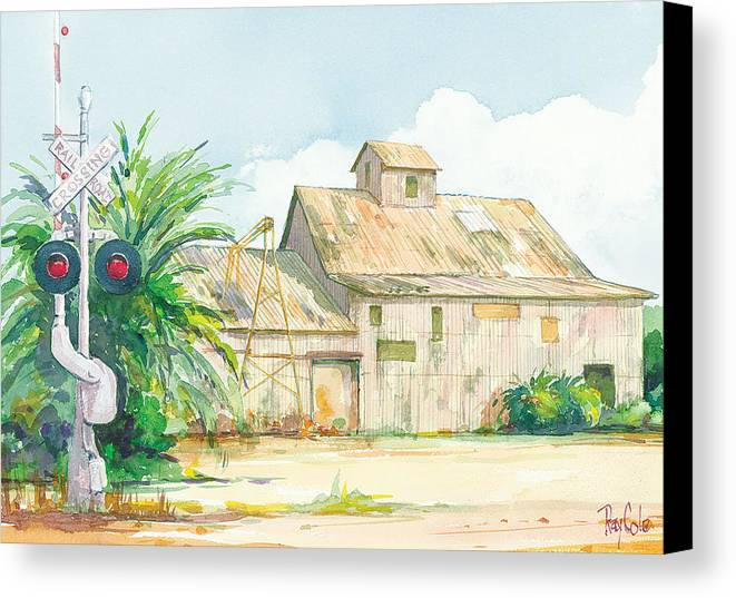 Historic Structure Near Train Crossing Canvas Print featuring the painting Lima Bean Plant 2 by Ray Cole