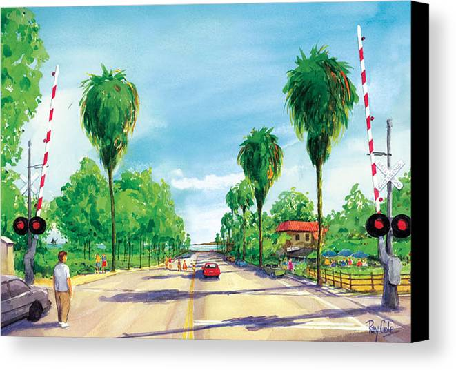 Linden Avenue Canvas Print featuring the painting Linden To The Beach by Ray Cole