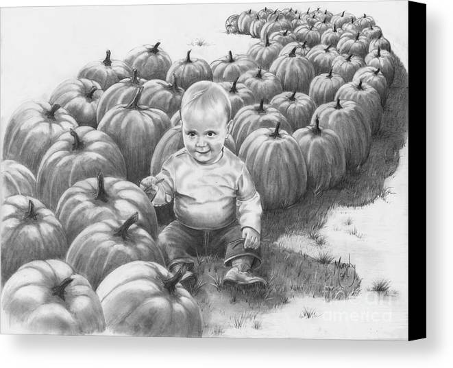 Charity Canvas Print featuring the drawing Little Pumpkin by Murphy Elliott