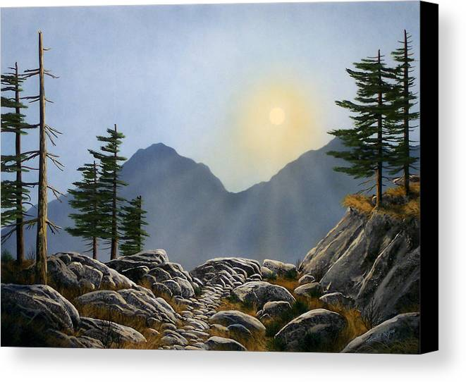 Landscape Canvas Print featuring the painting Lookout Rock by Frank Wilson