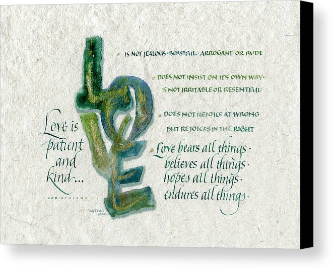 Anniversary Canvas Print featuring the painting Love Is by Judy Dodds