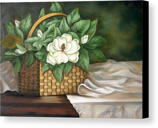 Flower Canvas Print featuring the painting Magnolia Basket by Ruth Bares