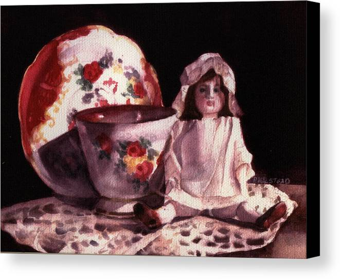 Watercolor Canvas Print featuring the painting Mama's Doll by Patricia Halstead