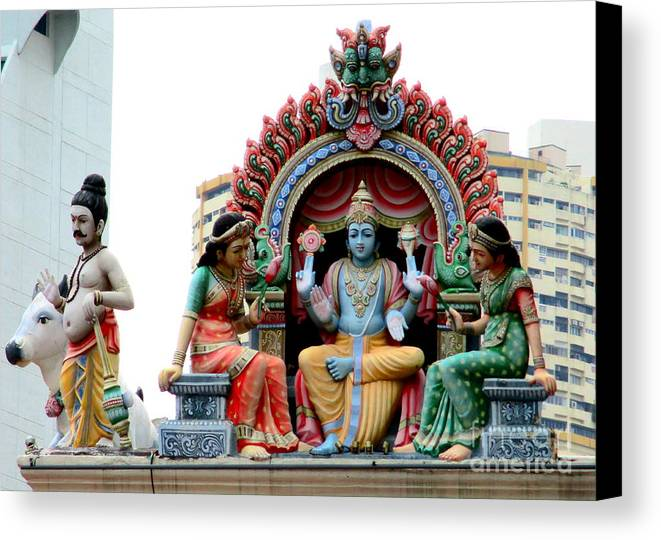 Singapore Canvas Print featuring the photograph Mariamman Temple Detail 4 by Randall Weidner