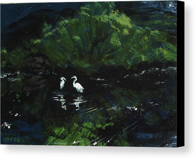 Herons Canvas Print featuring the painting Midnight by Jill Iversen