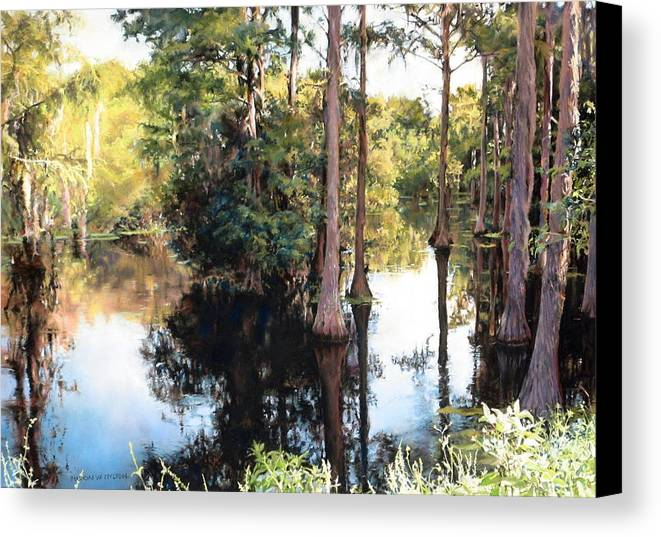 River Canvas Print featuring the painting Morning On The River by Marion Hylton