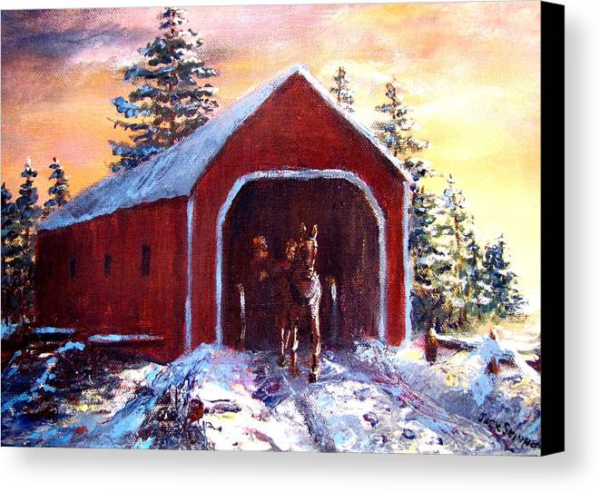 Winter Scene Canvas Print featuring the painting New England Winter Crossing by Jack Skinner