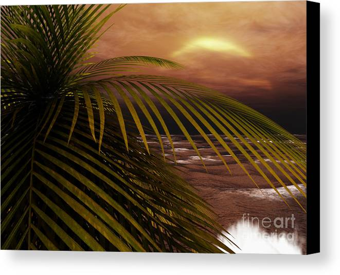 Tropical Canvas Print featuring the digital art Night Moves by Richard Rizzo