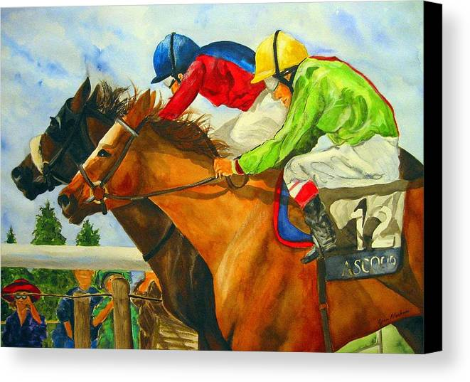 Horse Canvas Print featuring the painting Nose To Nose by Jean Blackmer