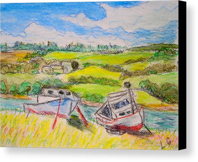 Fishing Boats Canvas Print featuring the drawing Nova Scotia Fishing Boats by Lessandra Grimley