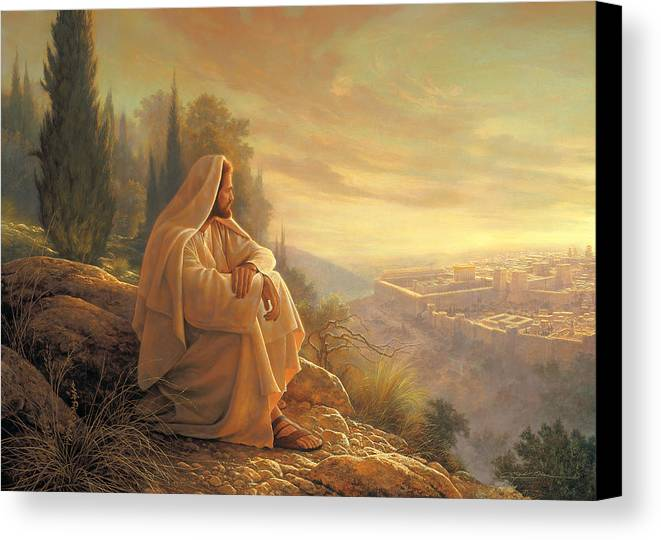Esus Canvas Print featuring the painting O Jerusalem by Greg Olsen