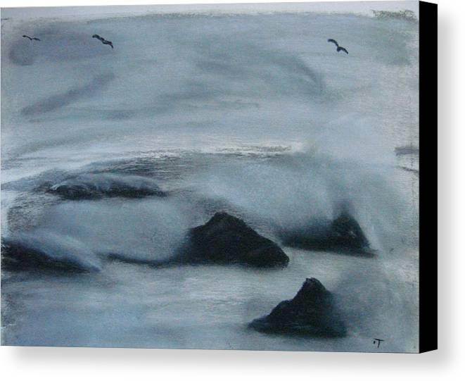 Ocean Canvas Print featuring the painting Ocean Rocks by Dottie Briggs