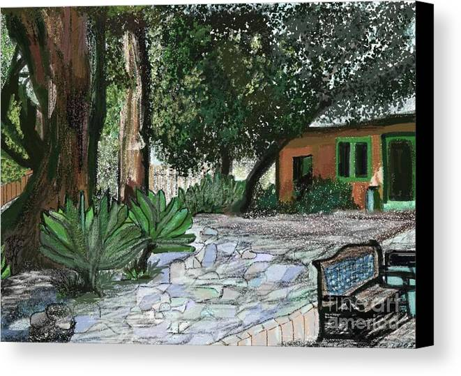 Arts Canvas Print featuring the digital art Ojai Arts Center by Sher Magins
