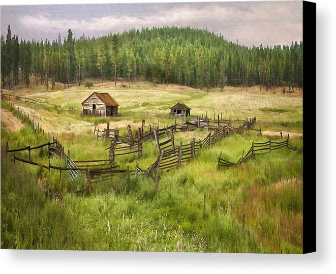 Architecture Canvas Print featuring the digital art Old Montana Homestead by Sharon Foster