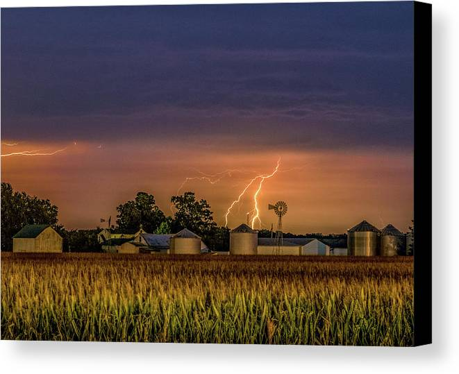 Old Route 66 Canvas Print featuring the photograph Old Rte 66 Lightning 8 48 16 P by Joe Kopp