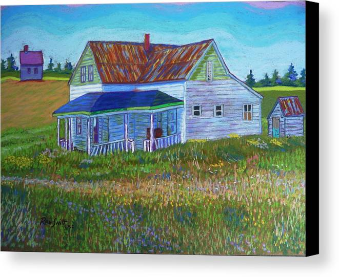Tinroof Canvas Print featuring the pastel Old Tin Roof by Rae Smith