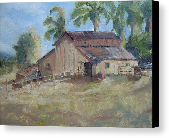 Old Barns; Horse Stables Landscape In Plein-air Canvas Print featuring the painting Old Yeller by Bryan Alexander