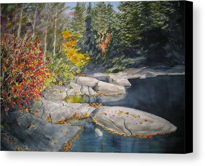 Landscape Canvas Print featuring the painting On The Rocks by Shirley Braithwaite Hunt