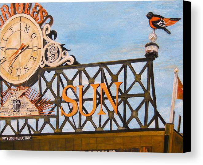 Orioles Canvas Print featuring the painting Orioles Scoreboard At Sunset by John Schuller