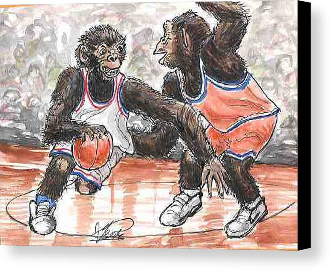 Basketball Canvas Print featuring the painting Out Of My Way by George I Perez