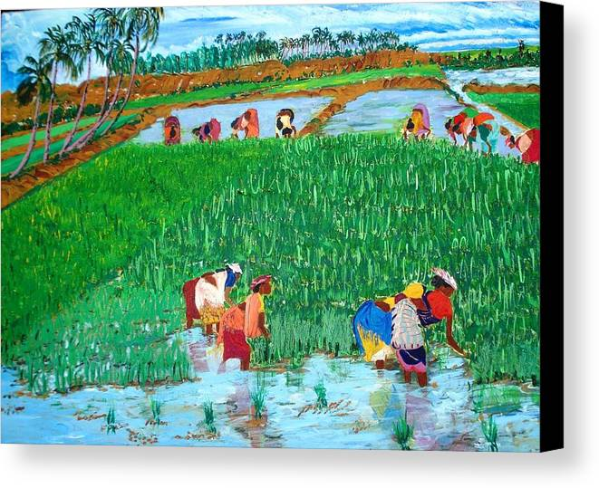 Paddy Canvas Print featuring the painting Paddy Planters by Narayan Iyer