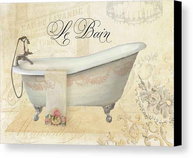 Parchment Paris Le Bain Vintage Bathroom Canvas Print