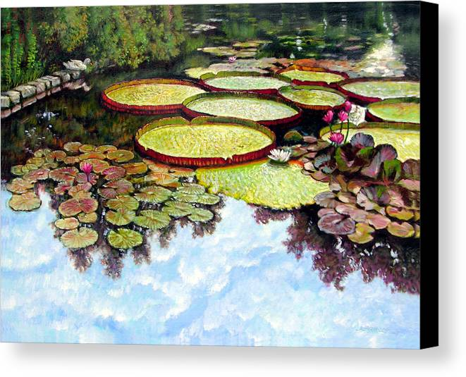 Landscape Canvas Print featuring the painting Peaceful Refuge by John Lautermilch