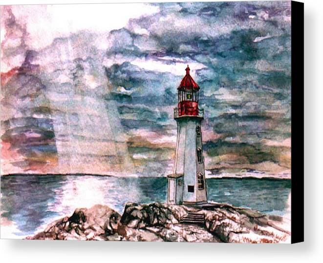 Peggy's Cove Canvas Print featuring the painting Peggy's Cove by Paul Sandilands