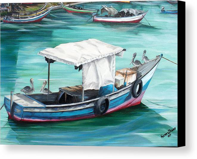 Fishing Boat Painting Seascape Ocean Painting Pelican Painting Boat Painting Caribbean Painting Pirogue Oil Fishing Boat Trinidad And Tobago Canvas Print featuring the painting Pirogue Fishing Boat by Karin Dawn Kelshall- Best