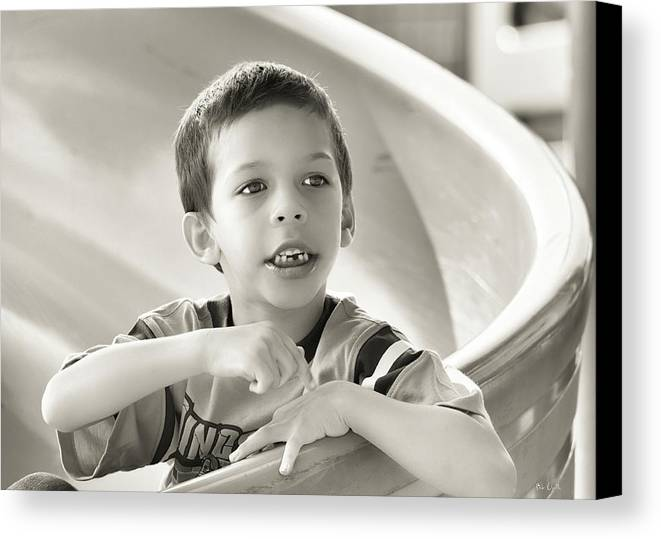 Street Photography Canvas Print featuring the photograph Playground Physics by Bob Orsillo