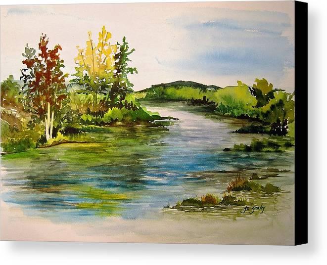 Grand Beach Manitoba Lagoon Canvas Print featuring the painting Plein Air At Grand Beach Lagoon by Joanne Smoley